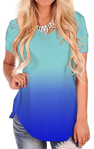 Lightweight Tunic V-neck - onlypuff Blue Women's V Neck Tunic Tops Basic Summer Casual Short Sleeve Shirts XXL