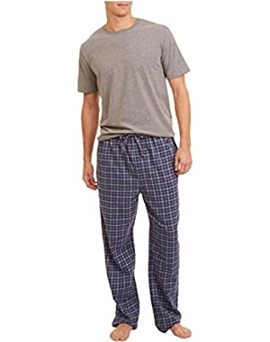 MEN'S 2 PC PAJAMA SET T-SHIRT FLANNEL BOTTOMS (Fog Heather, XX-Large)