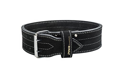 Leather Weightlifting Belt (Black) Wide Olympic Style   Powerlifting, Gym, CrossFit, Exercise Back Support   Proper Form for Squats, Deadlifts, Power Cleans   Heavy Duty   Men Women