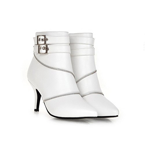 AmoonyFashion Womens Kitten-Heels Pointed Closed Toe Blend Materials Low-Top Boots White JxhAf