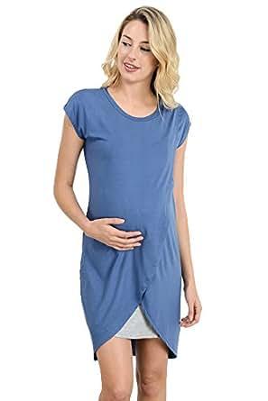 Hello Miz Color Block Asymmetrical Maternity Breastfeeing Nursing Dress (Small, Denim Blue/Grey)