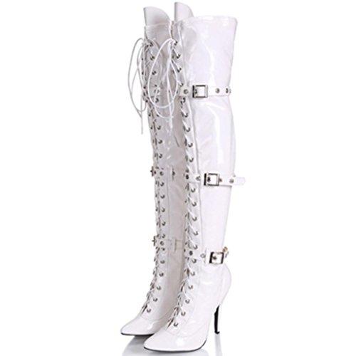 Mujeres Club nocturno Botas femeninas Damas Elasticidad Botas de tacón alto 12cm Bien con Zippered botas de la rodilla Botas de escenario , Blanco , 35 WHITE-35