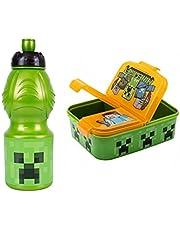 GOLDKIDS Minecraft oranje broodtrommel 18,5 x 13,5 x 5,5 cm kinderen lunchbox lunchbox broodtrommel voor ontbijt box drinkfles school vrije tijd kunststof doos incl. lichtgevende hanger