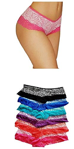 Set Pantie - oki doki Sexy Printed lace Trim Cotton Hipsters boy Shorts Pack of 6 Different Zebra Colors. (Medium, All Sorted 1)