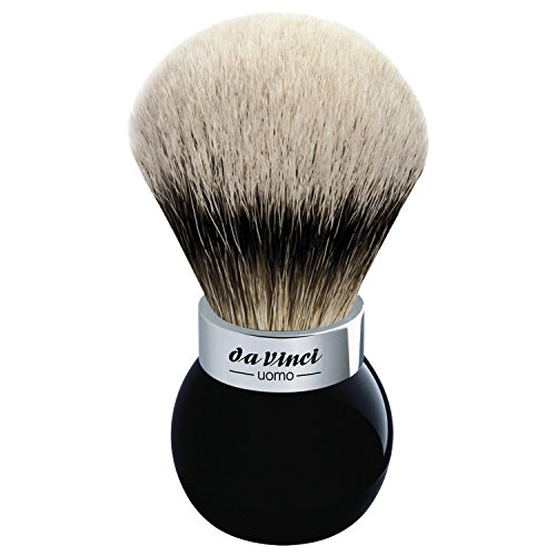 da Vinci Shaving Series 290 UOMO Silvertip Shaving Brush, Badger Hair with Black Globe Handle, 25mm, 75 Gram by da Vinci Brushes