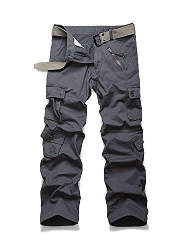 Grunge Cargo - AUSZOSLT Women's Casual Loose Fit with 8 Pockets Cargo Pants Plus Size Camouflage Work Pants Gray L SLT XN