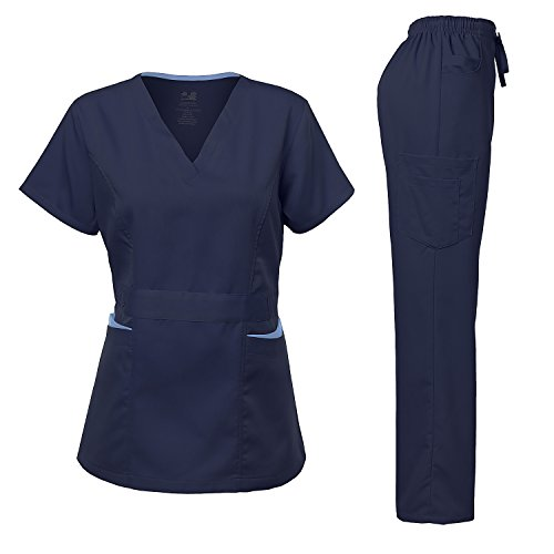 Medical Uniform Women's Scrubs Set Stretch Contrast Pocket Navy XL ()