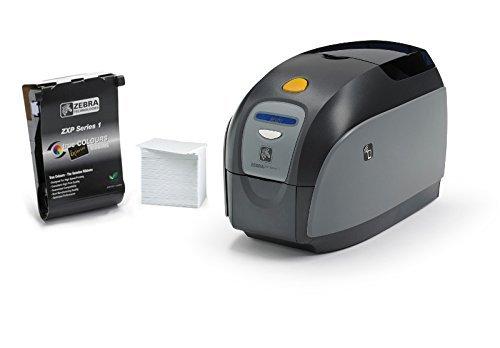Zebra Technologies Z11-0000H000US00 ZXP Series 1 Card Printer, Single-Sided, Sub, Us Cord, Color Media Starter Kit (Starter Single Sided)