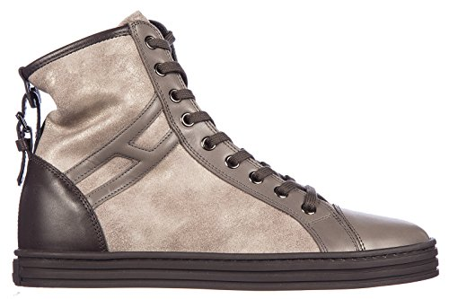 Hogan Scarpe Da Donna Da Donna Scamosciate Alte Sneakers Ribelle Cinturino R182 Beige