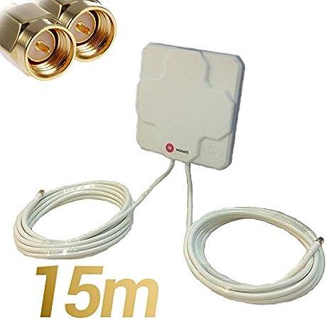 Largo Alcance se/ñal Conexion 3G,4G,5G LTE Internet W WONECT Antenas 4G Exterior Larga Distancia Compatible LTE 46dBi Alta Potencia 10m Fija, Blanco