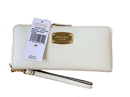 Michael Kors Optic White Leather Jet Set Travel Continental Zip Around Wallet & Wristlet by Michael Kors
