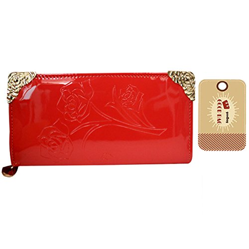 Goodbag Boutique Lady Emboss Rose Flower Pattern Handbag Faux Patent Leather Long Clutch Wallet Red