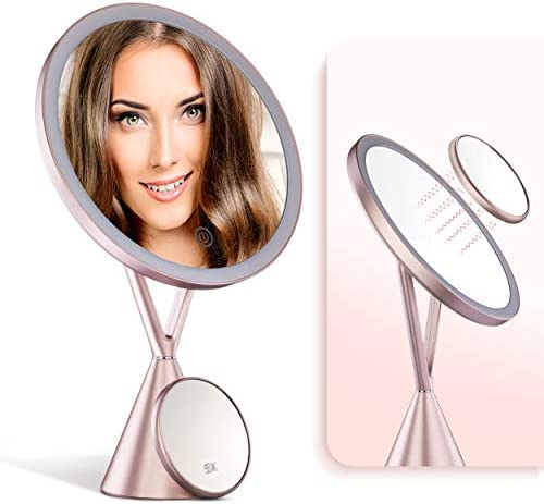 IKproductpro Makeup Mirror, Vanity Mirror, Vanity Makeup Mirror with Lights, 30 LED Makeup Mirror, 5X Magnification Mirror, Cosmetic Vanity Mirror