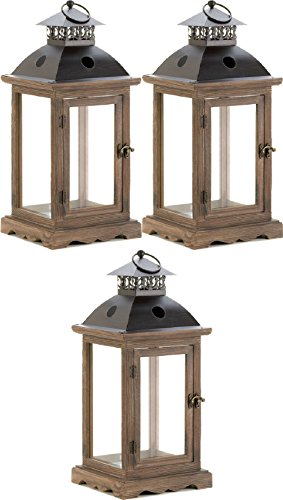 """[3 Rustic Large Brown Wood Metal 18"""" Tall Candle Holder Lantern Terrace Outdoor] (Terrace 3 Light Pendant)"""