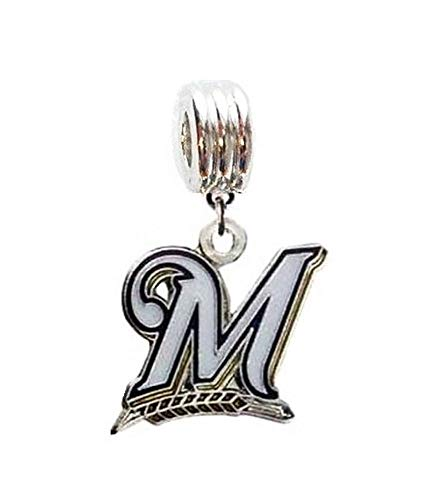 Heavens Jewelry Milwaukee Brewers Baseball Team Charm Slider Pendant for Your Necklace European Charm Bracelet (Fits Most Name Brands) DIY Projects ETC