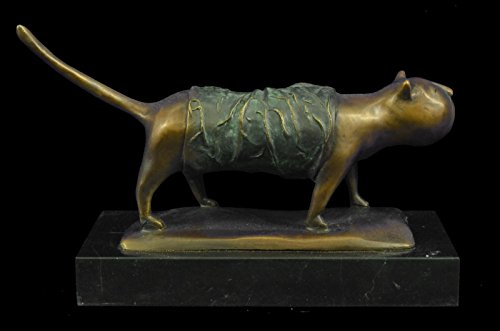 ...Handmade...European Bronze Sculpture Signed Fernando Botero Fat Cat Abstract Modern Art Decor (Figurine Handmade Sculpture)