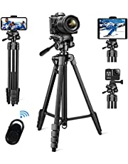 Vosscoss Camera Tripod 60-inches Aluminum Extendable Phone Tripod for Video Recording with Wireless Remote Control, Phone Mount for iPhone, Andriod, ipad Stand - Black