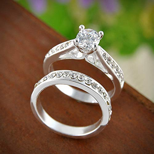 Campton 2Pcs Women Wedding Engagement Rings Silver Plated Zirconia Crystal Ring Jewelry | Model RNG - 11727 | 6#