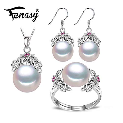 925 Sterling Silver Natural Pearl Ruby Jewelry Sets for Women Vintage Dangle Earrings Bohemian Flower Necklace - Purple Resizable