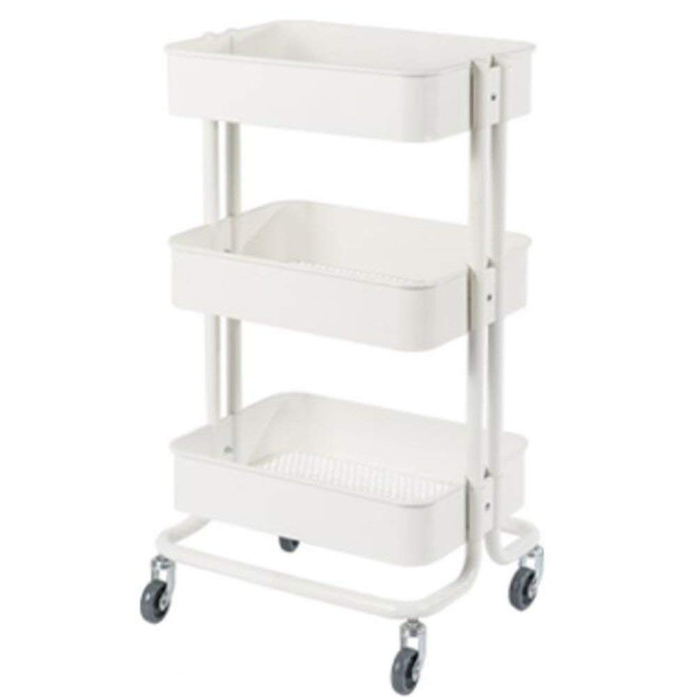 YUEQISONG Storage Rack Three Layers Iron Carbon Steel it Can Move Blue Gray Cream Color White Kitchen, White