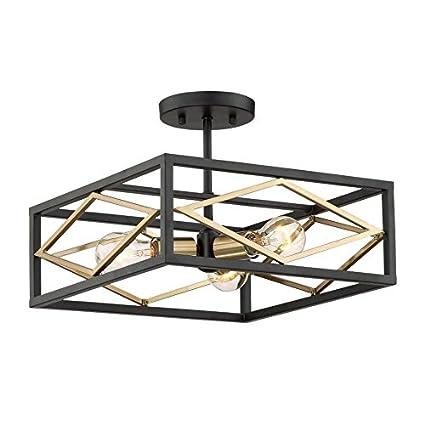 Quoizel Platform 14 In W Black With Gold Glass Semi Flush