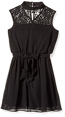 Amy Byer Belt (Amy Byer Big Girls' Mock Neck Fit Anf Flare With Belt, Black, 16)