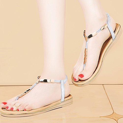 KHSKX Flat Bottom Sandals Summer Flat Women Sandals Thirty-nine LD4GFcD9