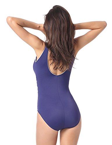 Delimira - Bañador a Rayas Escote en V Traje de Baño de Una Pieza Para Mujer azul
