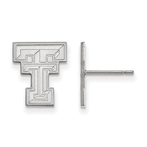 10k White Gold LogoArt Official Licensed Collegiate Texas Tech University (TTU) Small Post Earrings by LogoArt