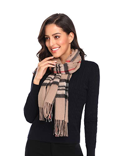 i+k 100% Pure Merino Lambswool Plaid Scarf for Women - Soft Wool Fashion Long Winter Warm Wrap with Gift Box (Plaid Apricot)