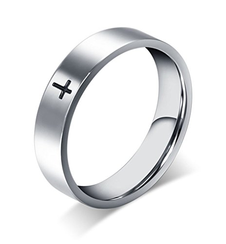 Stainless Steel Cross Ring for Mens Womens Christian Jesus Christ Lord Prayer Silver Size 7