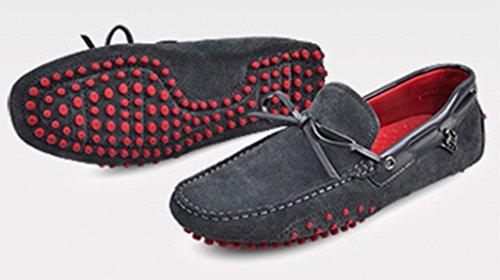 Crc Mens Casual Style Round Toe Fashion Walking Training Driving Mocassini In Pelle Doug Scarpe Grigie