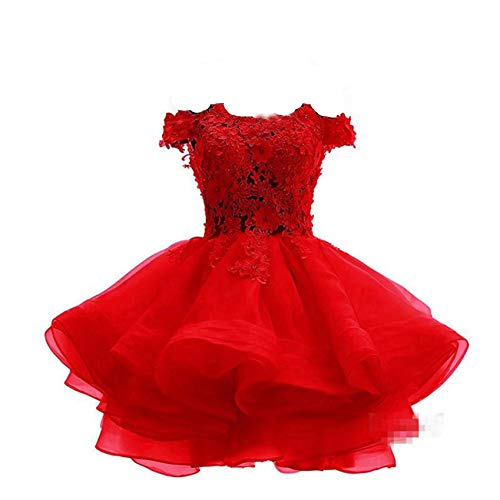 (Women's Off The Shoulder Organza Short Ball Gown Prom Homecoming Dress Party Dresses 520 Red-8)