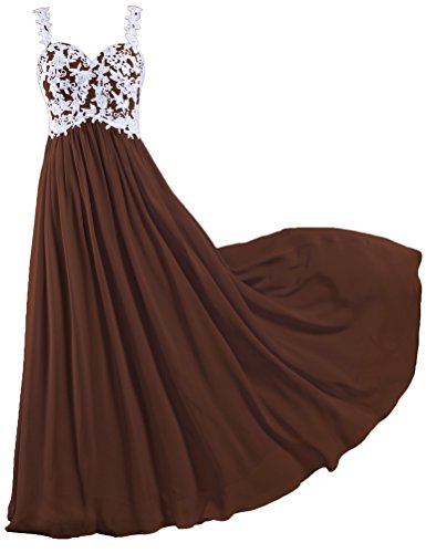ANTS Women's Straps Backless Lace Evening Dresses Long Prom Gown Size 22W US Brown
