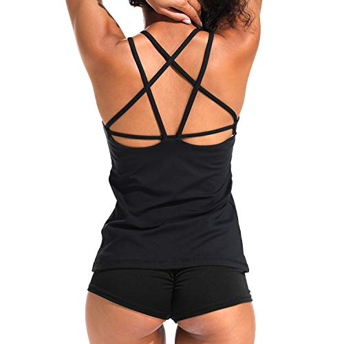 YOFIT Sexy Yoga Tank Tops Backless Vest with Removable Pad Workout Sleeveless Shirts Open Back #5 Black -