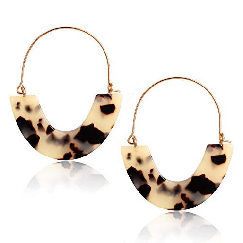 CEALXHENY Acrylic Earrings Tortoise Hoop Earrings Statement Wire Resin Earrings Fan Drop Dangle Earring for Women (A Leopard)