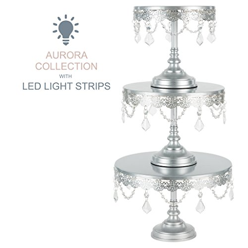 Aurora 3-Piece Silver Rechargeable LED Cake Stand Set, Round Metal Crystal Cupcake Dessert Display Pedestal Wedding Party Display, Chargers Included ()
