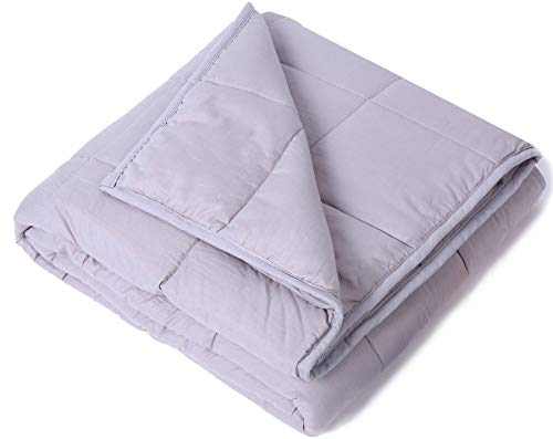 Kpblis Weighted Blanket 5 lbs 36 x 48 for 30-70 lbs, 100% Cotton Fabric Throw Blankets 2.0, Light Gray