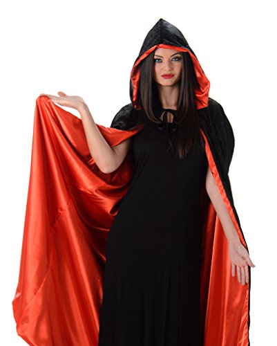 Women's Gothic Vampire Velvet Satin Deluxe Hooded Costume Cloak Cape, Black and Red - One Size