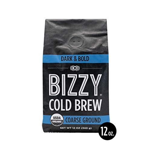 Bizzy Organic Cold Brew Coffee | Dark & Bold Blend | Coarse Ground Coffee | 12 oz
