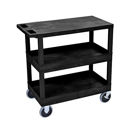 LUXOR EC211HD-B Cart with 2 Tub/1 Flat Shelves, 18'' x 32'', Black by Luxor