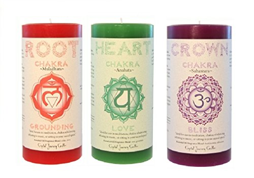 """Crystal Journey 3""""x6"""" Pillar Chakra candles bundle of 3 (Root Chakra, Heart Chakra, Crown Chakra)"""
