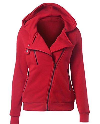 Invernale lunga Giacca Sweatshirt Donna Cappuccio cerniera Hoody manica Felpa con asimmetrica Rosso chiusura a aa041nqr