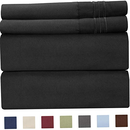 Mikash King Size Sheet Set - 4 Piece Set - Hotel Luxury Bed Sheets - Extra Soft - Deep Pockets - Breathable & Cooling Sheets - Comfy - Black Bed Sheets - Kings Sheets - 4 PC | Model SHTST - 53