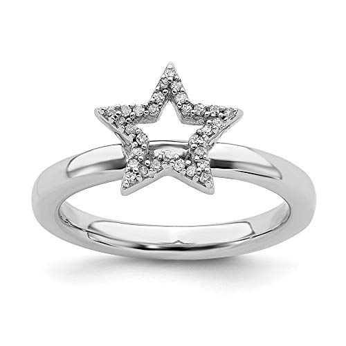 Diamond Flower Stackable Ring - 925 Sterling Silver Star Diamond Band Ring Size 7.00 Stackable Fancy Fine Jewelry Gifts For Women For Her