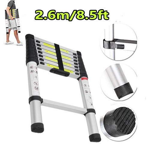 Aluminum Extension Foldable Telescopic Ladder Telescoping Straight Ladder Extendable Steps EN 131 Light-Weight 23.15 lbs Fully Extened 2.6M/8.6FT AF Factory