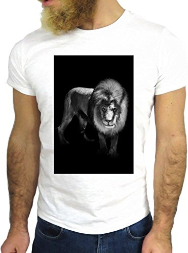 T SHIRT JODE Z1571 LION SAVANA AFRICA KING WILD BLACK FUN COOL FASHION NICE GGG24 BIANCA - WHITE L