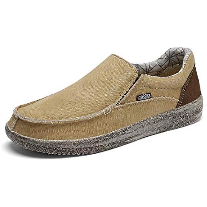 SONLLEIVOO Men's Slip On Deck Shoes Canvas Loafers Men Beach Boat Shoes