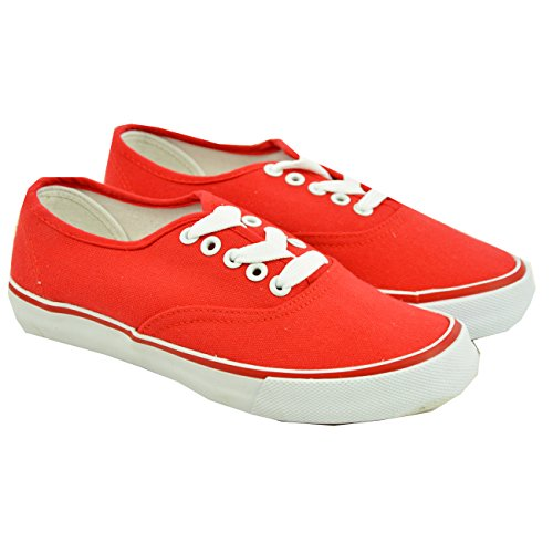 Cucu Fashion 2017 Brand New Womens Ladies Canvas Trainers Lace Up Flat Sneakers Running Shoes Size Uk Red 2fNv2Vr
