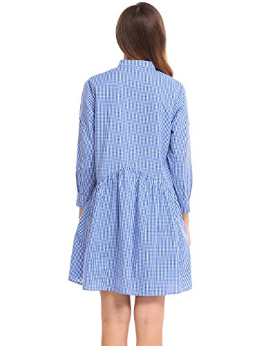 0258f9a3208 ACEVOG Women Long Sleeve Plaid Button Down A-Line Short Shirt Dress